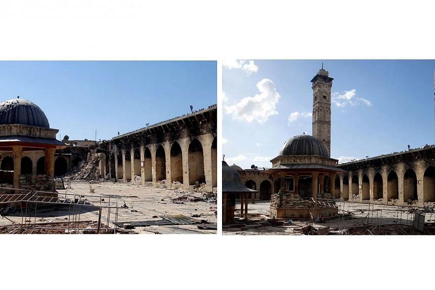 This is a combination of two citizen journalist images provided by Aleppo Media Center AMC, which has been authenticated based on its contents and other Associated Press reporting, showing the damaged famed 12th century Umayyad mosque (left) without